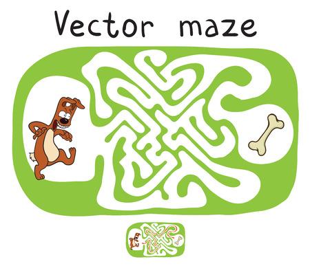 laberinto: Vector laberinto, laberinto juego educativo para niños con perro y el hueso. Vectores