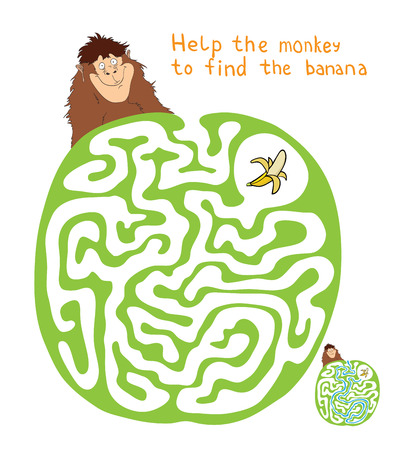 Vector Maze, Labyrinth education Game for Children with Monkey and Banana. 向量圖像