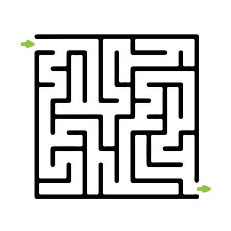 Zwarte vector doolhof, labyrint illustratie Stock Illustratie