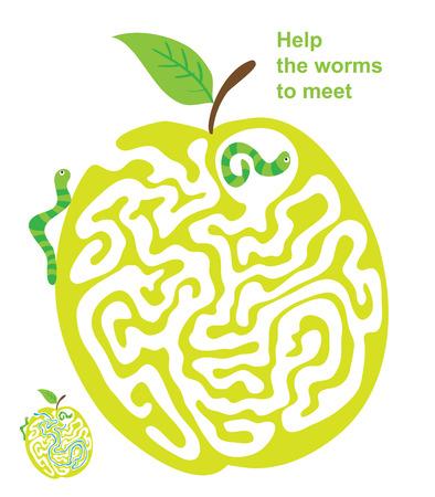 gusano caricatura: Vector laberinto, laberinto juego educativo para niños con? Aterpillar y Apple.