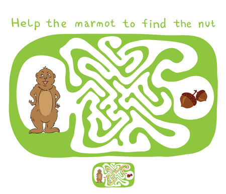 lost child: Vector Maze, Labyrinth education Game for Children with Marmot and Nut.