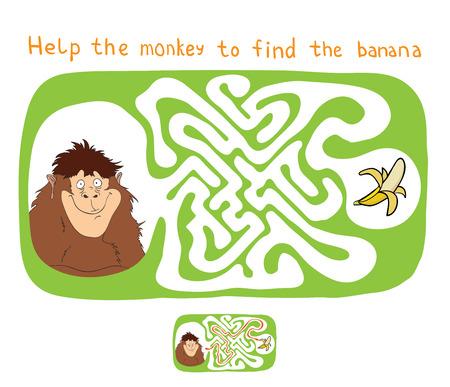 platano caricatura: Vector laberinto, laberinto de educaci�n Juego para Ni�os con Mono y pl�tano.