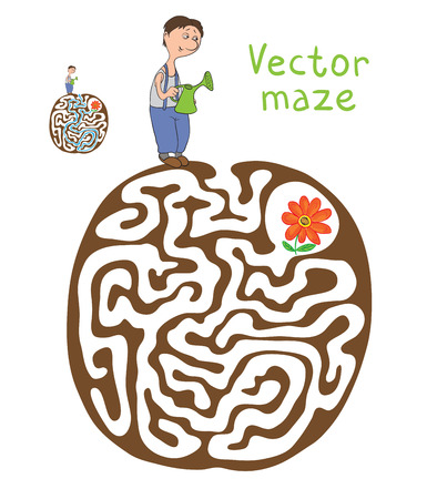 pathfinder: Vector Maze, Labyrinth education Game for Children with Gardener and Plant.