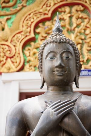stone buddha: Stone Buddha face, statue in Thailand