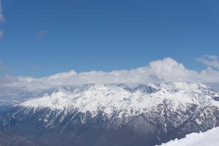 freeride: Cloudy mountain landscape of Krasnaya Polyana, Sochi, Russia
