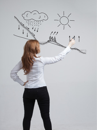 transpiration: Young woman drawing schematic representation of the water cycle in nature