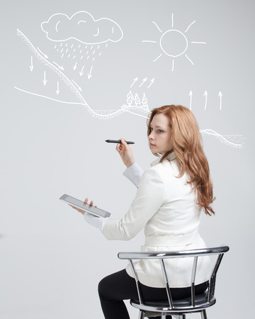 representation: Young woman drawing schematic representation of the water cycle in nature