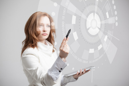 Future technology. Touch button interface. Woman working with futuristic interface