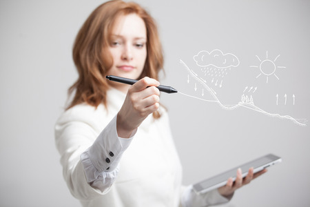 representations: Young woman drawing schematic representation of the water cycle in nature
