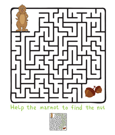 brainteaser: Vector Maze, Labyrinth education Game for Children with Marmot and Nut.