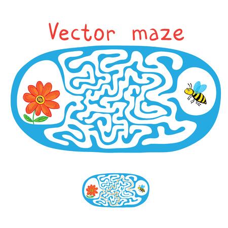 mosca caricatura: Vector laberinto, laberinto Juego educaci�n para ni�os con Flying abeja y la flor. Vectores