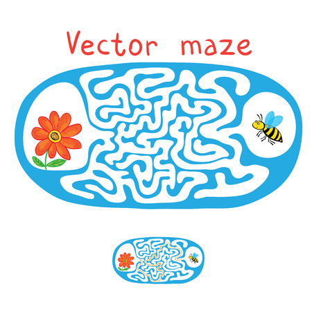 fly cartoon: Vector Maze, Labyrinth education Game for Children with Flying Bee and flower. Illustration
