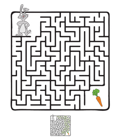 zanahoria caricatura: Vector laberinto, laberinto de juegos para niños con el conejo y la zanahoria.