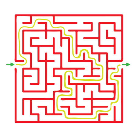 Vector maze, red labyrinth illustration