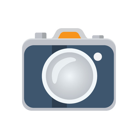 the photographer: Photo camera flat icon, vector logo ilustration