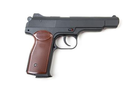 gun trigger: Isolated gun on white background Stock Photo