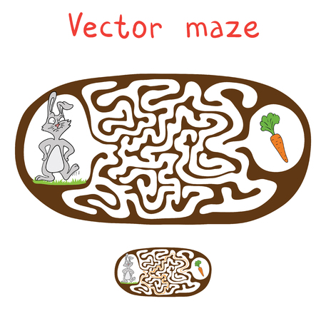 lost child: Vector Maze, Labyrinth Game for Children with Rabbit  and Carrot. Illustration