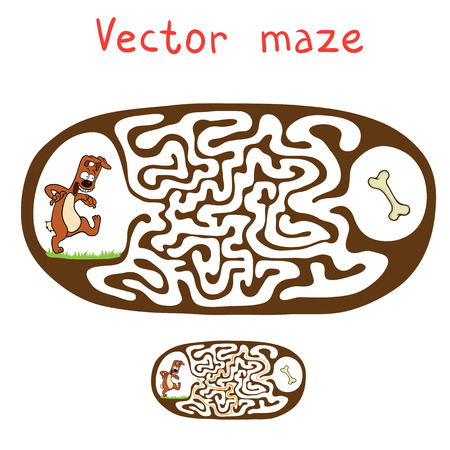 riddle: Vector Maze, Labyrinth education Game for Children with Dog and Bone. Illustration
