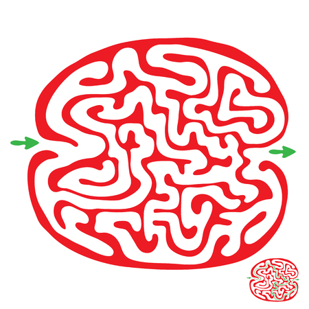 riddle: red vector maze, labyrinth illustration Illustration