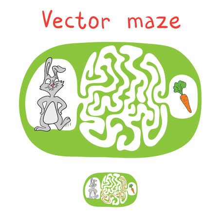 zanahoria caricatura: Vector laberinto, laberinto de juegos para ni�os con el conejo y la zanahoria.