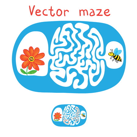 lost child: Vector Maze, Labyrinth education Game for Children with Flying Bee and flower. Illustration