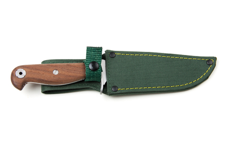 scabbard: hunting knife with wooden handle and scabbard, isolated on white background
