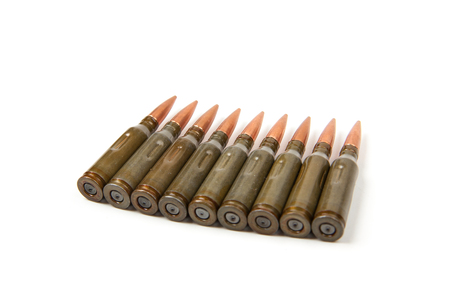 9mm ammo: bullets, isolated on white background