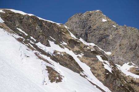 slope: Snowy mountain slope. Winter landscape