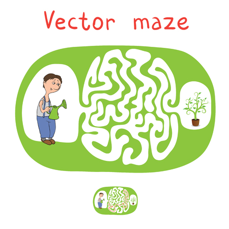 lost child: Vector Maze, Labyrinth education Game for Children with Gardener and Plant.