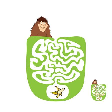 the maze: Vector laberinto, laberinto de educaci�n Juego para Ni�os con Mono y pl�tano.