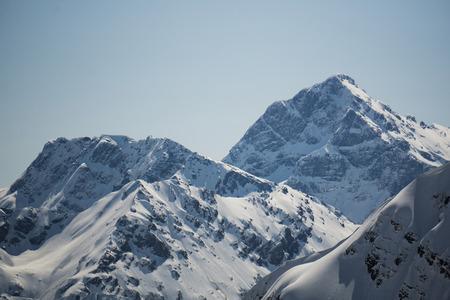 snowy landscape: Mountain peak, winter snowy landscape Stock Photo
