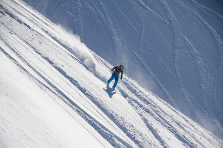 freerider: Snowboard freerider  in the mountains