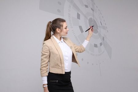 futuristic interface: Future technology. Touch button interface. Woman working with futuristic interface