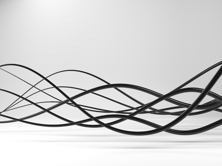 wire: Black electric wires or abstract lines on gray background