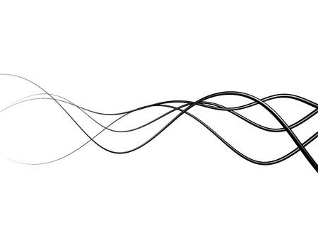 黒の電線や白い背景の上に抽象的な線 写真素材
