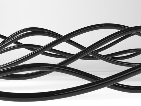 Schwarze Elektrische Drähte Oder Abstrakte Linien, Auf Weißem ...