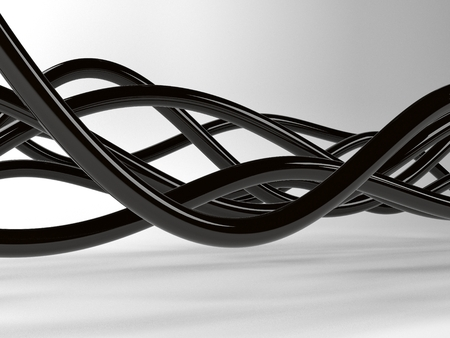 network concept: Black electric wires or abstract lines, on white background Stock Photo