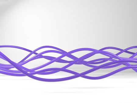 twist: 3D Illustration of violet electric wires or abstract lines, on white background Stock Photo