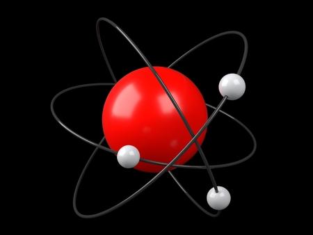 atomic symbol: Model of atom on black background. 3D illustration