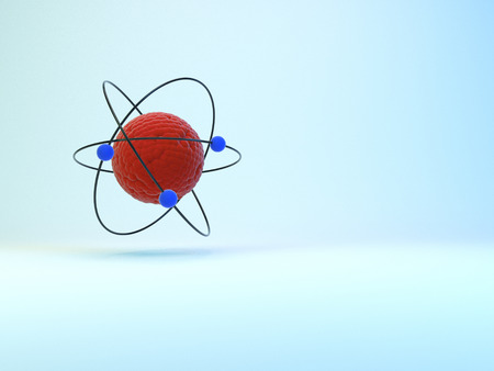 Model of atom with shadow on whie background. 3D illustration