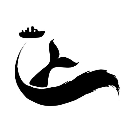 oil spill: Fishing ship and fish tail or oil spill from tanker. Illustration