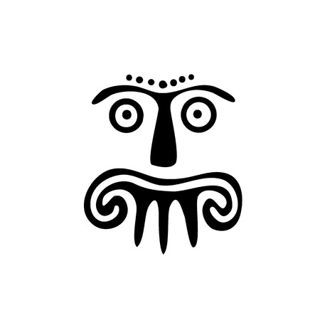 alien face: Alien face, Tribal tattoo, isolated illustration