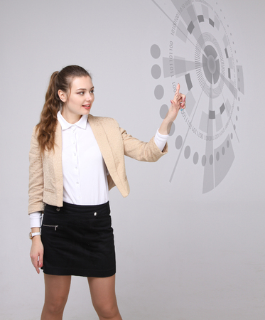 touch button: Future technology. Touch button interface. Woman working with futuristic interface