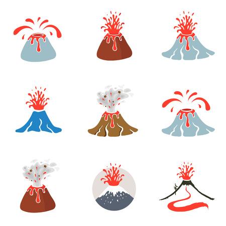 Erupción del volcán del vector Ilustración de vector
