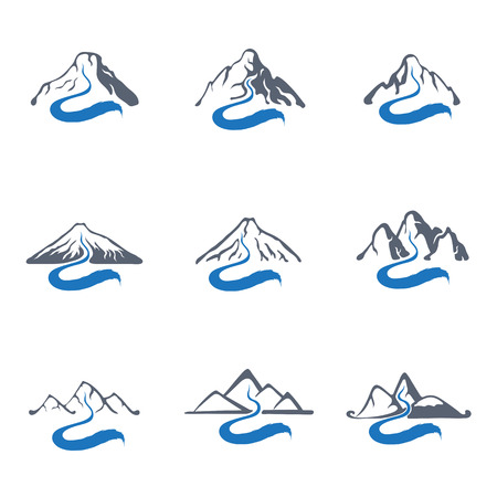 rill: Mountain river or stream icon set, vector icon illustration.