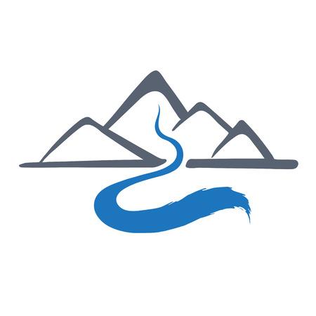 Fiume di montagna o torrente logo, icona illustrazione vettoriale. Vettoriali