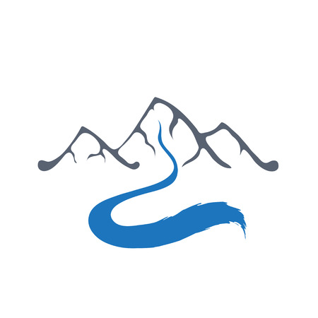 brook: Mountain river or stream logo, vector icon illustration.