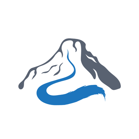clean water: Mountain river or stream logo, vector icon illustration.