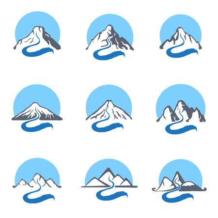 mountain stream: Mountain river or stream icon set, vector icon illustration.