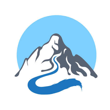 mountain stream: Mountain river or stream icon, vector icon illustration.